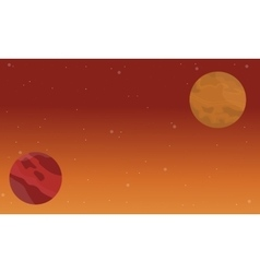 Planet space on sky landscape vector