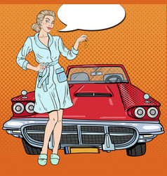Pop art blonde woman with car keys vector