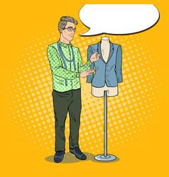 Pop art male fashion designer with jacket vector