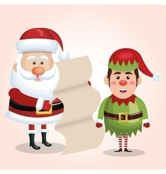 Santa claus with elf and list gift design isolated vector