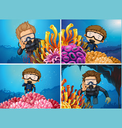 scenes with divers in the sea vector image vector image