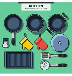 Set of kitchen subjects in flat style vector