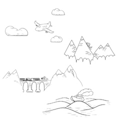 Set of traveling modes including airplane car vector