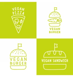 Set of vegan food icons Burger pizza sandwich vector image vector image