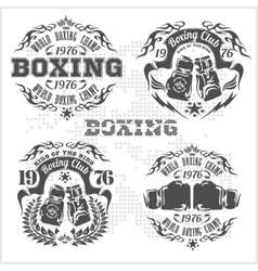 Set of vintage boxing emblems labels badges vector