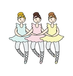 tilda doll ballerinas during small vector image
