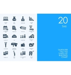Set of blue hamster library tax icons vector