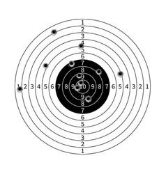 Gun target with bullet holes vector image
