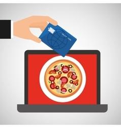 Shopping online concept order pizza vector