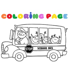 Outlined school bus with happy children vector