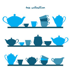 shelves with tea pots and tea cups vector image