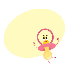 Cute and funny baby dummy pacifier character with vector