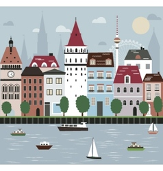 City on the river vector