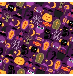 Happy halloween seamless pattern with flat icons vector