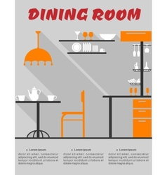 Dining room interior in flat format vector