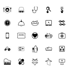 Quality life line icons on white background vector