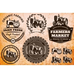 set of labels with a tractor for livestock and vector image