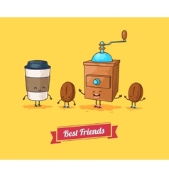 funny cartoon Funny coffee beans ans vector image