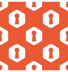Orange hexagon keyhole pattern vector