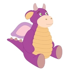 Cute toy purple dragon vector