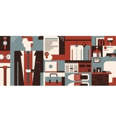 Business man object and accessories background vector