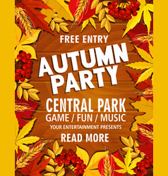 Autumn poster for park picnic music party vector