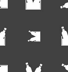 Beer bottle icon sign seamless pattern on a gray vector