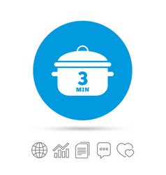 Boil 3 minutes cooking pan sign icon stew food vector