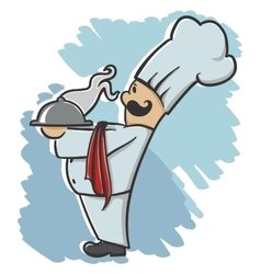 chef serving the dish vector image vector image