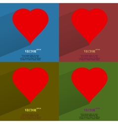 Color set red heart web icon flat design vector image