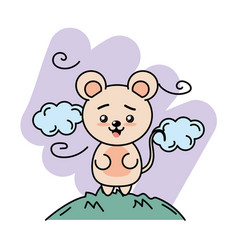 Cute mouse animal in the mountain with clouds vector