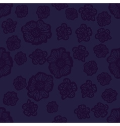 Dark violet seamless flower pattern vector