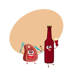 funny beer bottle and big meat steak characters vector image vector image
