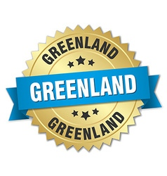 Greenland round golden badge with blue ribbon vector