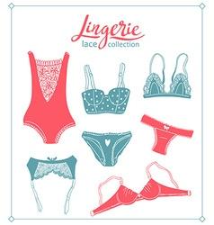 Lace lingerie set underwear design Outline hand vector image vector image