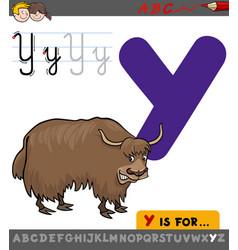 Letter y with cartoon yak vector