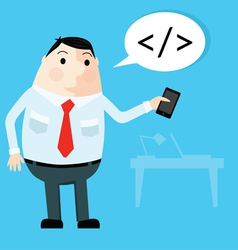Man with smartphone in office vector