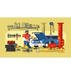 Mechanic Repairs Car in the Garage vector image