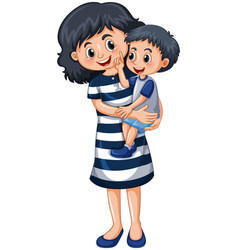 mother carrying little boy vector image vector image