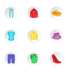 Outfits icons set cartoon style vector