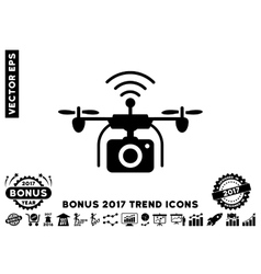 Radio camera drone flat icon with 2017 bonus trend vector