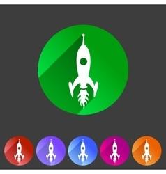 Rocket icon flat web sign symbol logo label vector image vector image
