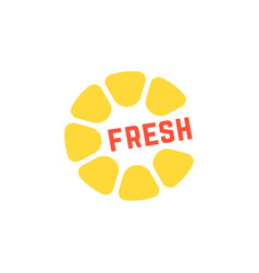 Simple yellow fresh juice logo vector