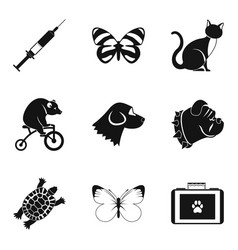 smart animal icons set simple style vector image vector image