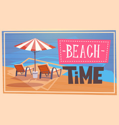 Summer beach time vacation sea travel retro banner vector