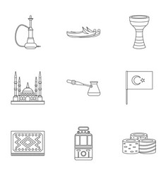 Turkey equipment icons set outline style vector