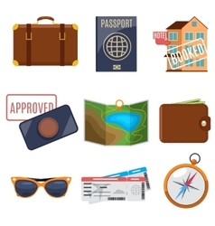 Visa application and vacation icons vector