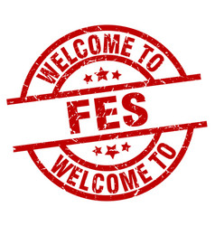 Welcome to fes red stamp vector