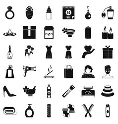 Woman perfume icons set simple style vector