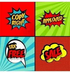 Set comic sound effects pop art copy right sale vector